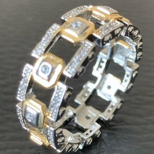 Stainless Steal and Gold Wedding Band Style Ring.